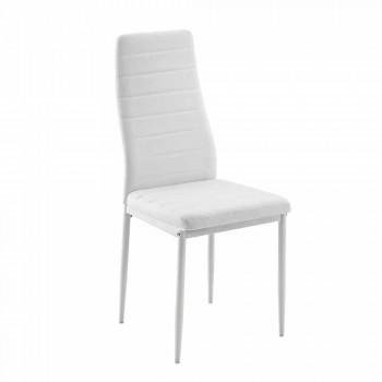 4 chaises de salle à manger modernes en simili cuir et pieds en métal - Spiga