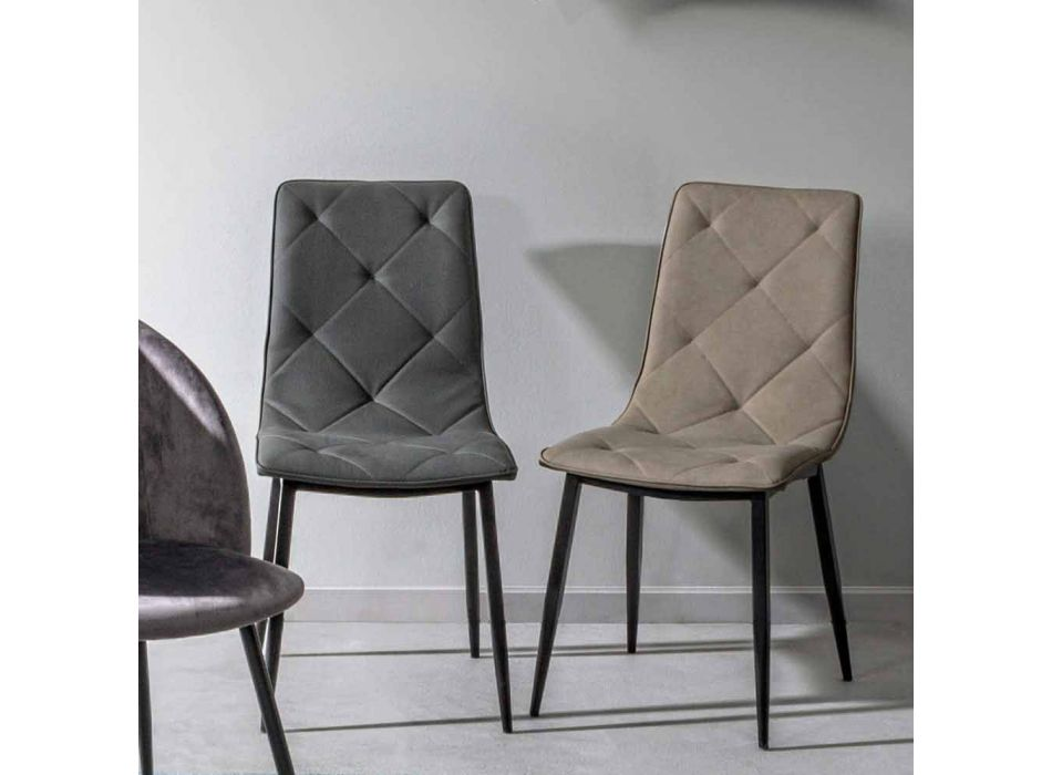 4 chaises modernes recouvertes de similicuir avec base en acier Homemotion - Daisa