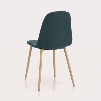 4 chaises de salle à manger avec assise en tissu et structure en métal - Pampa