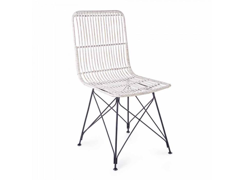 4 chaises de salle à manger en acier et tissage par Kubu Homemotion - Kendall