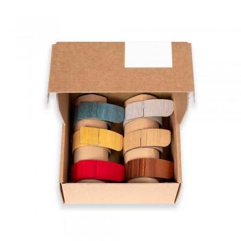 6 Ronds de Serviette en Bois et Tissu Moderne Made in Italy - Potty