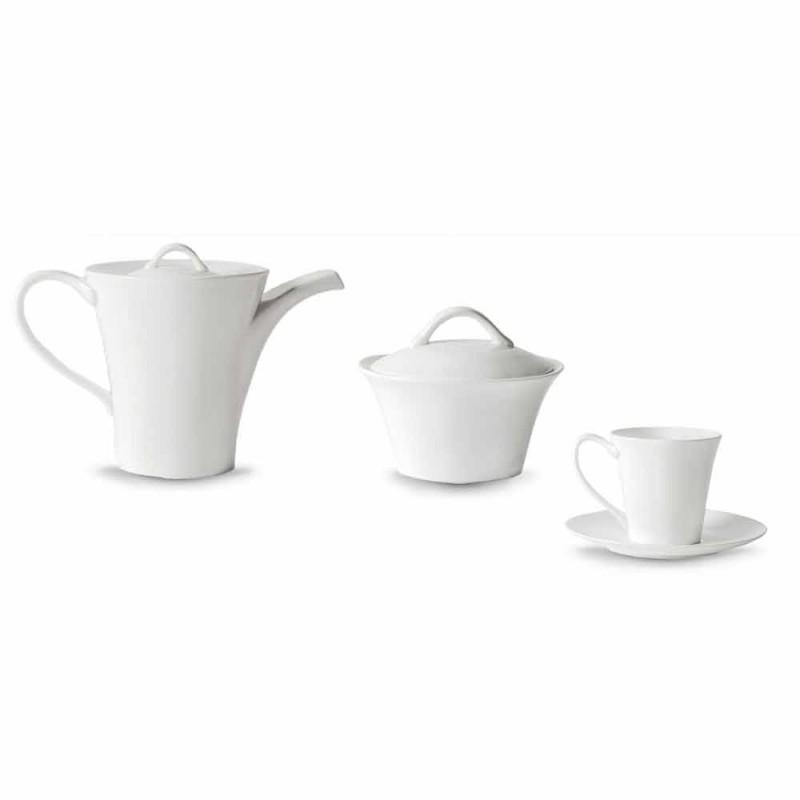 6 tasses à café en porcelaine avec assiette, cafetière et sucrier - Romilda