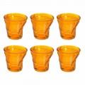 12 tasses à café en verre design froissé de couleur - Sarabi