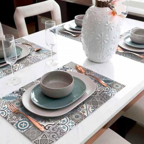 6 sets de table américains lavables en pvc et polyester à motifs - Belita