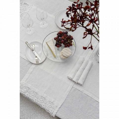 6 serviettes en lin clair avec décor de boîte de luxe italien - Virtu