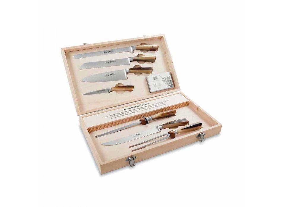 7 couteaux de table en acier inoxydable Berti exclusivement pour Viadurini - Sanzio