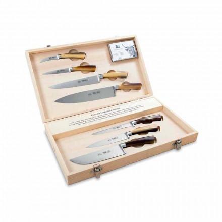 7 couteaux italiens en acier inoxydable, Berti exclusivement pour Viadurini - Goya