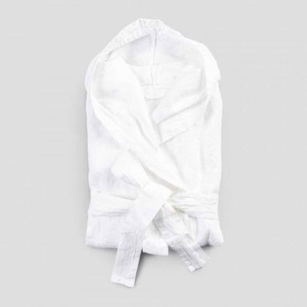 Peignoir en lin épais blanc avec capuche de luxe italienne - Palace