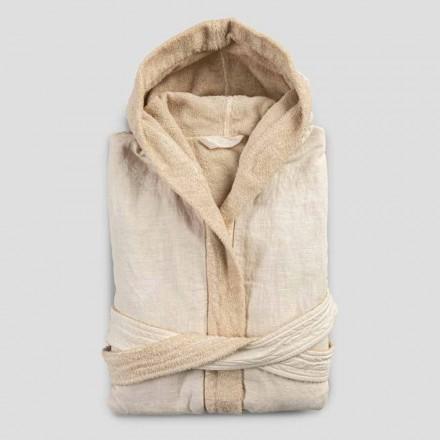 Peignoir réversible en tissu éponge et lin beige avec capuche - Mirandola