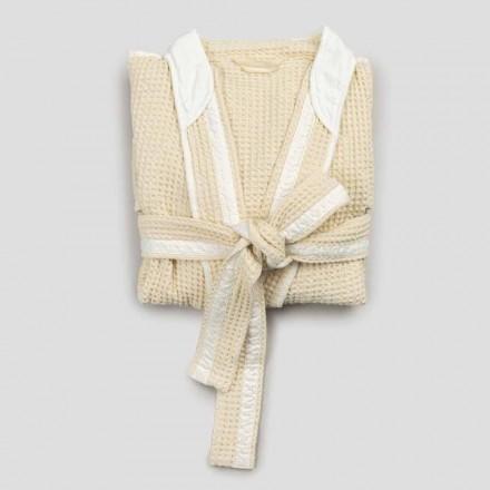 Peignoir de luxe kimono en lin et coton, 2 finitions Made in Italy - Kleone
