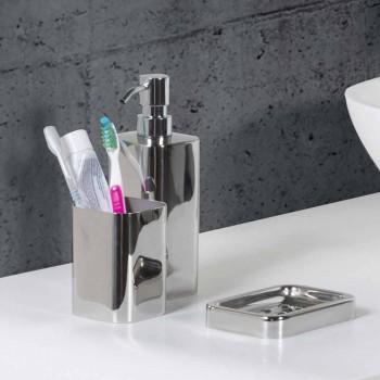 Accessoires de salle de bain autoportants en finition chromée en acier inoxydable - Brillant