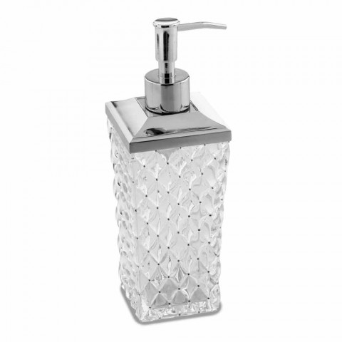 Accessoires de salle de bain sur pied en cristal capitonné et métal - Argent