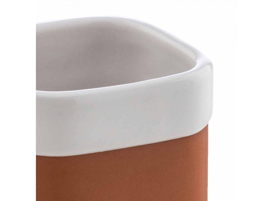 Accessoires de salle de bain autoportants en terre cuite et céramique blanche - Terracotta