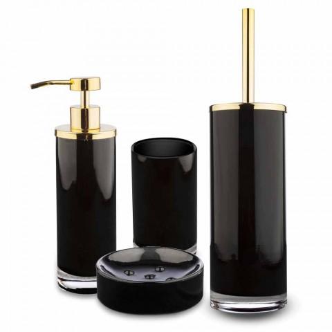 Accessoires de salle de bain sur pied en verre noir et métal doré brillant - Noir