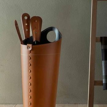 Accessoires de cheminée avec supports en cuir Nilar, design moderne