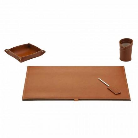 Accessoires pour bureau design en cuir reconstitué, 4 pièces - Aristote