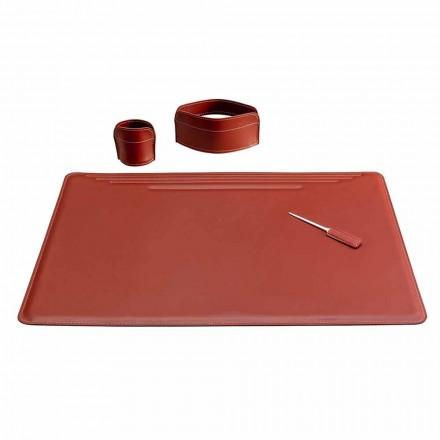 Accessoires pour bureau en cuir, 4 pièces, Made in Italy - Ebe