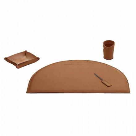 Accessoires de bureau pour bureau en cuir régénéré, fabriqué en Italie - Medea
