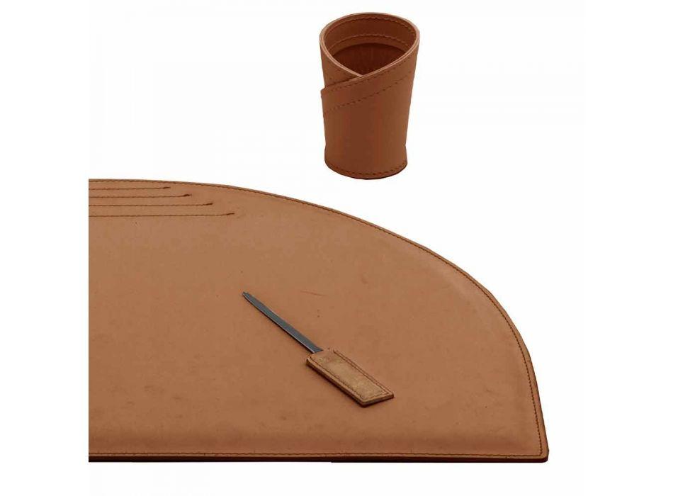 Accessoires de bureau en cuir régénéré 4 pièces Made in Italy - Medea