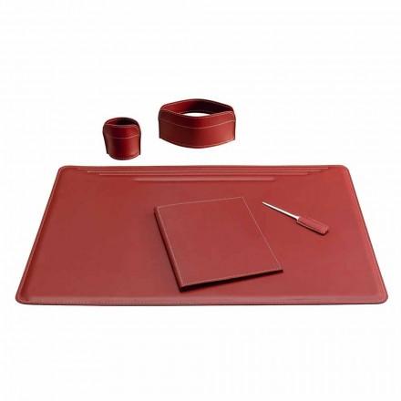 Accessoires de bureau en cuir 5 pièces fabriqués en Italie - Ebe