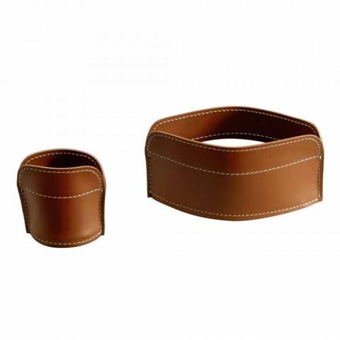 Accessoires de bureau en cuir régénéré 5 pièces Made in Italy - Ebe