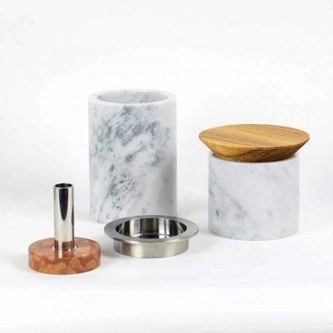 Accessoires gain de place pour ustensiles de cuisine en marbre, bois et acier - Astoria