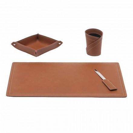 Accessoires Bureau en cuir régénéré, 4 pièces, fabriqué en Italie - Ascanio