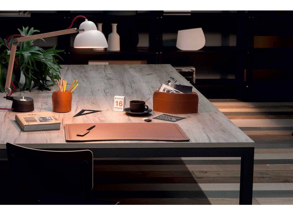 Accessoires Bureau 4 Pièces en Cuir Régénéré Fabriqué en Italie - Brando