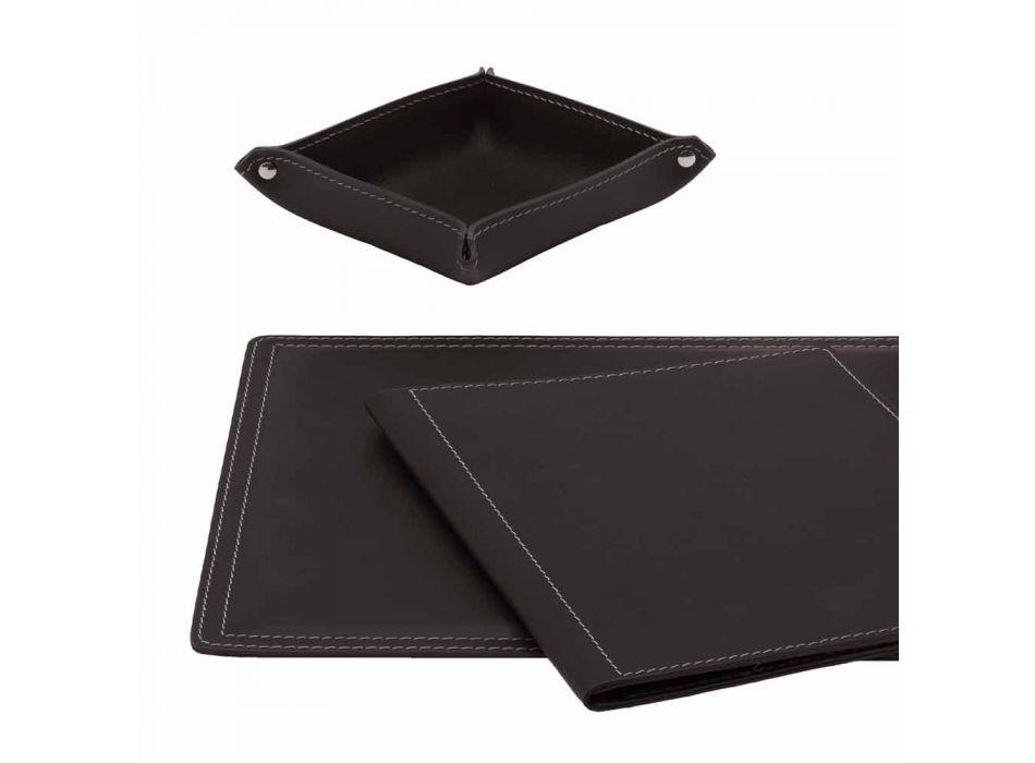 Accessoires Bureau 5 pièces en cuir régénéré fabriqué en Italie - Ascanio