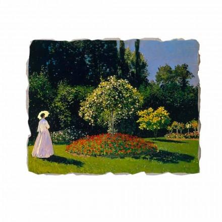 Fresque La Dame en blanc au jardin de Monet, peinture à fresque