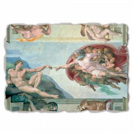 Fresque grande La Création d'Adam de Michel-Ange, peinte à la main