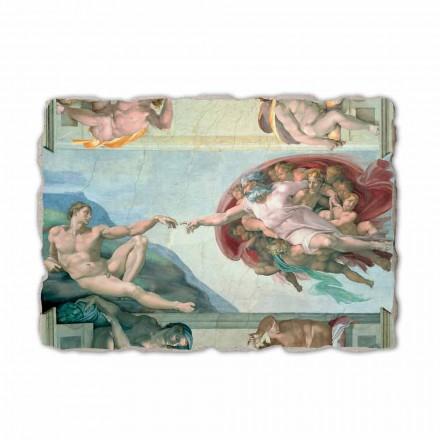 Fresque La Création d'Adam de Michel-Ange, peinte à la main
