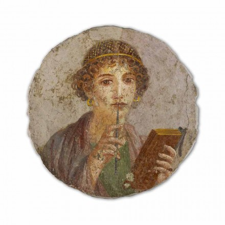 Fresque La poétesse, art romain, peinte à la main