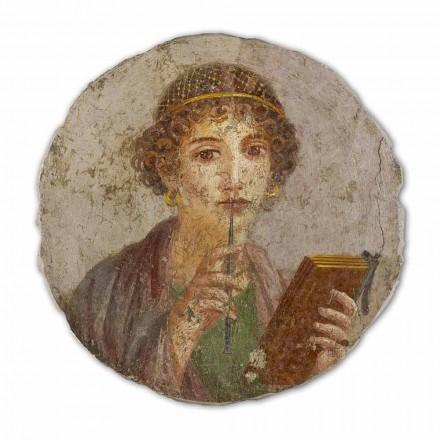 Fresque grande  La poétesse, art romain, peinte à la main