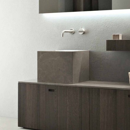 Grand lavabo carré à poser en pierre de design moderne - Farartlav1