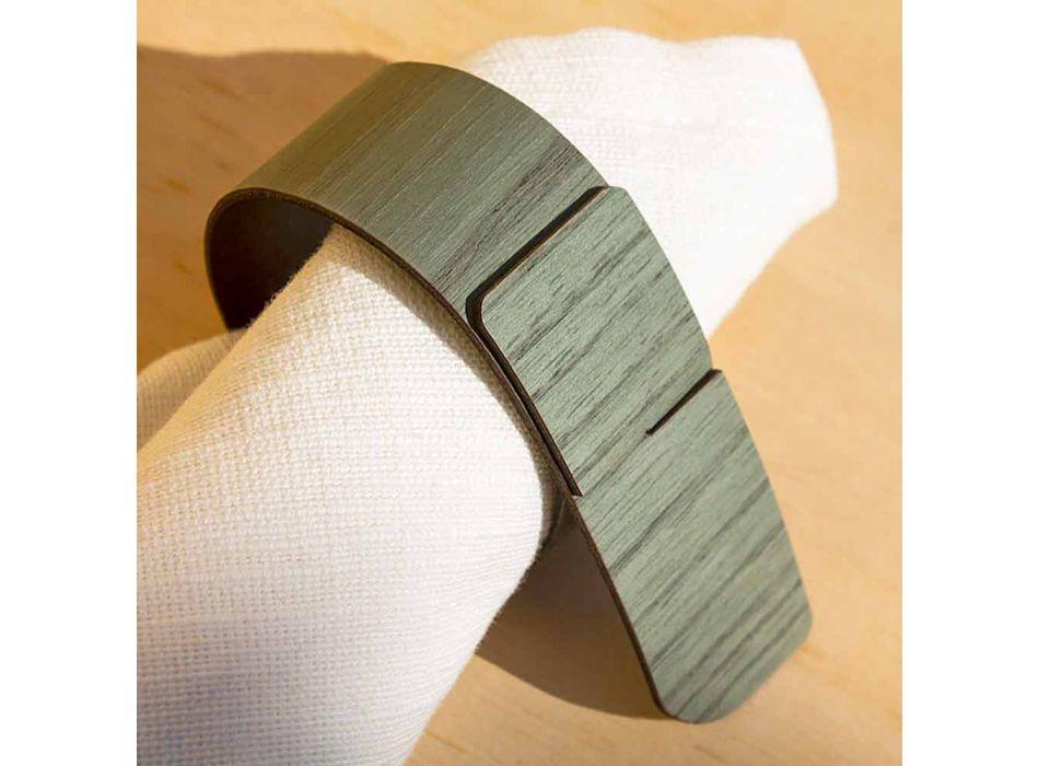 Bague serviette en bois et tissu Made in Italy - Abraham