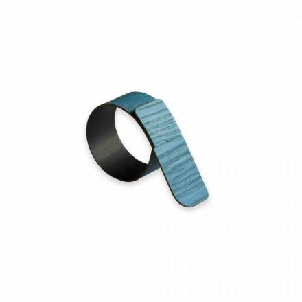 12 anneaux de serviette design en bois et tissu fabriqués en Italie - Abraham