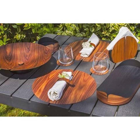 Rond de serviette en bois design moderne fabriqué en Italie - Stan