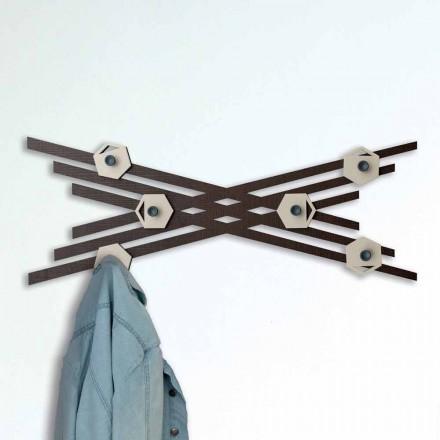Porte-manteau mural design moderne en bois laqué coloré - Picassino