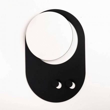 Porte-manteau mural moderne en acier avec miroir fabriqué en Italie - Pilippo