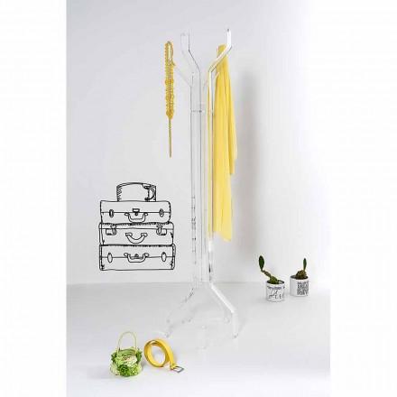Portemanteau de design moderne transparent avec 5 crochets Andrea