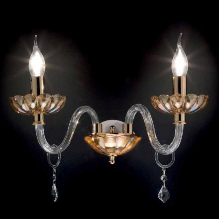 Applique 2 lumières de design classique en cristal et verre Belle