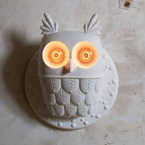 Applique Murale 2 Lumières en Céramique Blanc Mat Hibou Design Moderne - Chouette