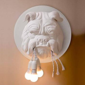 Applique murale avec 3 lumières au design moderne en céramique grise ou blanche - Dogbull