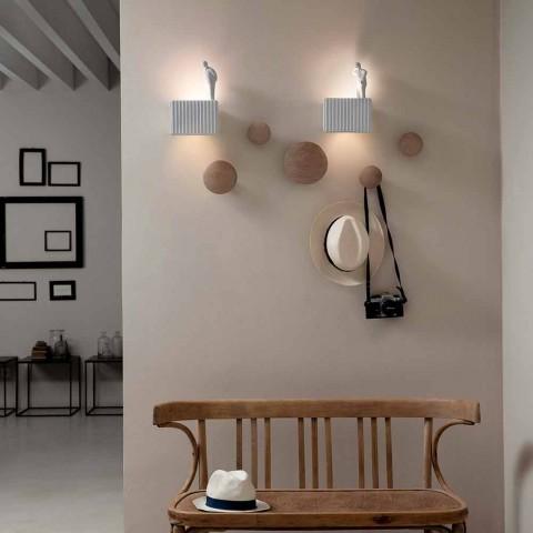 Applique murale avec 3 lumières LED en céramique blanche mate avec Umarell - Ometto