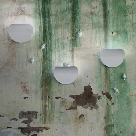Applique Murale Design Feuille en Céramique Blanche et Escargot - Décoration Escargot