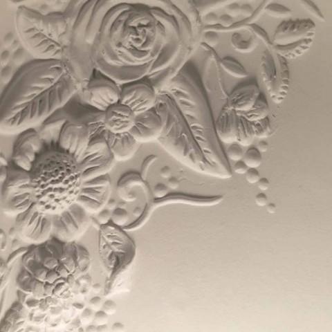 Applique murale en céramique blanche mate avec fleurs décoratives - Fluxo