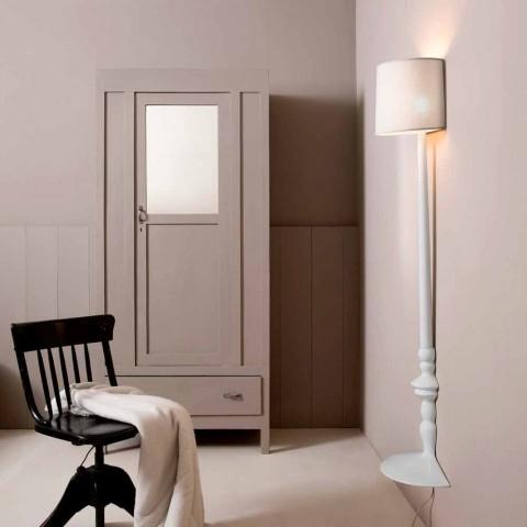 Applique murale haute en céramique blanche et abat-jour en lin design - Cadabra