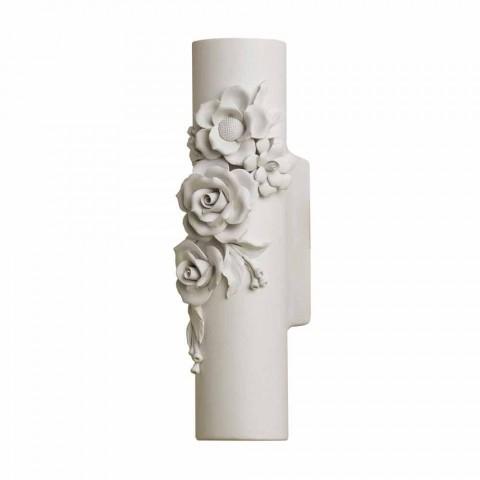 Applique murale en céramique blanche mate avec fleurs décoratives - Revolution