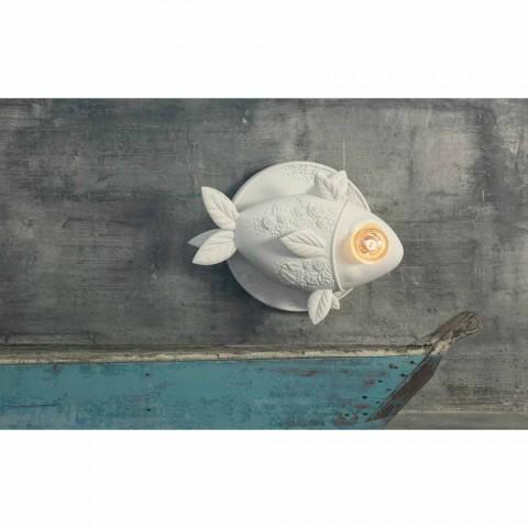 Applique Murale Design Céramique Blanc Mat avec Poisson Décoré - Poisson